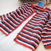 男女宝宝都适合的云朵儿童钩针条纹开衫