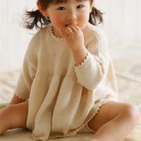 萌可爱宝宝棒针裙式上衣套装(棒针长袖娃娃衫、短裤、袜子)
