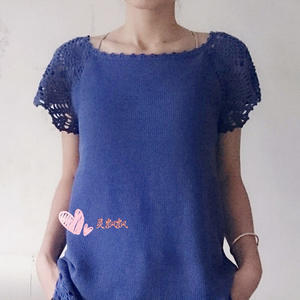 LK150机织女士百搭钩织结合套头衫