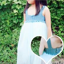 蓝雨 云帛II钩布结合女童背心蓬蓬裙