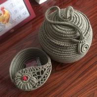 毛线与废弃网线diy不一样的毛线碗