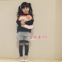 黑色彩虹 女童棒针条纹拼色长袖毛衣