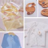 送新生宝宝的贴心礼物  手工缝制宝宝抱巾、围嘴及和尚服等用品