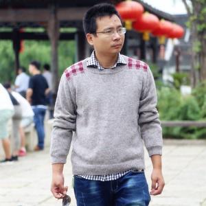 男士棒针麻羊绒长袖圆领毛衣