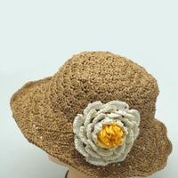 牡丹花钩针棉草拉菲草帽编织视频教程(2-2)装饰花的钩法