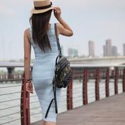 性感深V领女士钩针修身长裙