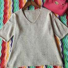 家机编织极简显瘦女士短袖套头衫