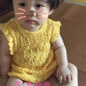 宝宝棒针镂空荷叶袖小裙子