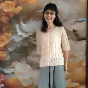 片片枫叶情 从上往下织云侣女士棒针叶形纹半袖开衫毛衣