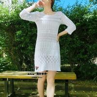 森女系钩针组合花样白色蕾丝连衣裙