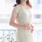 夏季小圆领女士钩针蕾丝渔网菠萝开衫