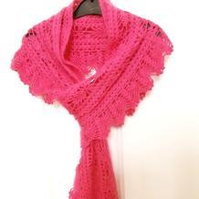 云侣女士钩针菠萝羊毛蕾丝围巾