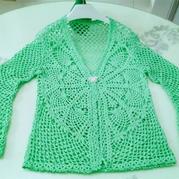 清新绿女士钩针菠萝开衫