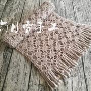 超仙美的云侣羊毛蕾丝女士钩针流苏围巾