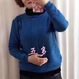 云侣女士棒针圆领羊毛衫