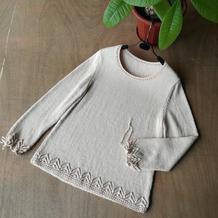 女士棒针镂空花边圆领长袖羊毛衫