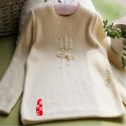 稻穗图案儿童棒针圆领羊毛衫