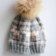 北欧风粗针织棒针麋鹿提花帽子