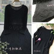 云侣黑色羊毛蕾丝女士棒针长袖连衣裙