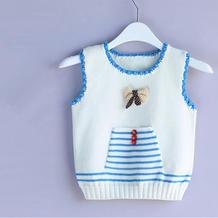 蓝白条纹棒针儿童背心编织视频