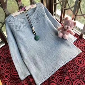 育克圆领女士棒针长袖羊绒衫