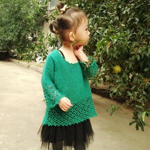 初秋的那抹绿 云侣儿童钩织结合罩衫
