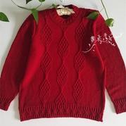 酒红色中老年女士棒针美丽诺羊毛衫
