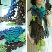 适合新手编织的钩针半轮秋围巾