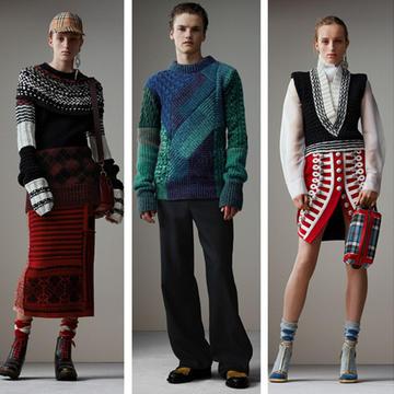 英伦Burberry博柏利2017秋冬系列 不对称与各式拼接毛衣