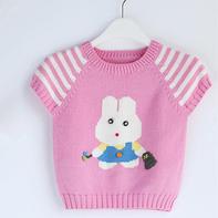 宝宝棒针插肩袖小兔图案毛衣编织视频教程(2-1)
