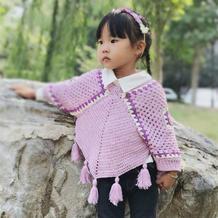 回头率超高的女童钩针流苏祖母方格带袖斗篷