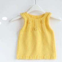 宝宝棒针背心裙编织视频教程(2-2)简单装饰花朵的钩织方法