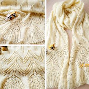 铃兰花披肩式女士棒针羊毛蕾丝围巾
