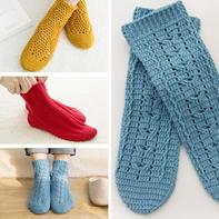 成人款春秋保暖钩针袜子编织视频教程(3-3)锚链花纹款