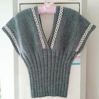 北欧风女士棒针提花深V领套衫 秋季时尚搭配单品