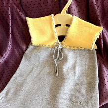 3天即可完成的简单简洁儿童棒针拼色V领背心裙