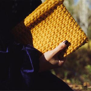 简洁大气女士钩针粗羊毛手拿包