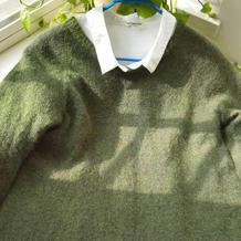 秋橄榄 从领口往下织云侣女士棒针羊毛马海毛衣