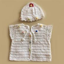 前后两穿的糖果色婴儿钩针背心帽子套装