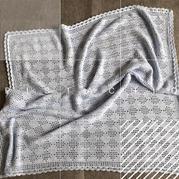 田园风钩针双层花边菱形毯编织图解