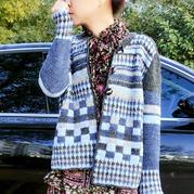古着毛衣质感的女士钩针提花羊毛外套开衫