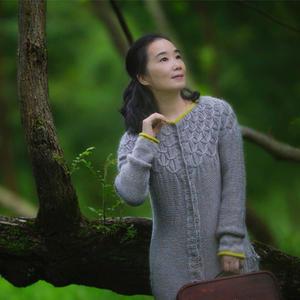 秋风 温婉大气女士棒针羊毛长开衫