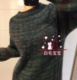 男女都适合的棒针马海毛衣 把自带袖马鞍肩简单化