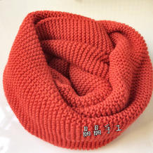 暖暖 极简大红搓板针云舒棒针围脖