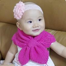 经典双层宝宝棒针花边蝴蝶围巾