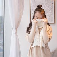 拾光 斜格镂空花棒针饼干花围巾编织视频教程