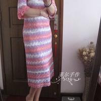 很赋有浪漫色彩的段染蕾丝棉层叠袖微A修身裙