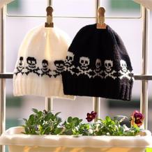 酷酷的云宝宝棒针男童骷髅毛线帽