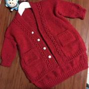花样门襟大红冰岛毛羊绒完美开扣毛衫