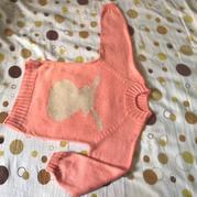 秋冬保暖中童粉色兔宝宝平针套头毛衣